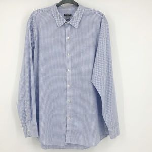 Van Heusen Flex Plaid Button Down Shirt White Blue